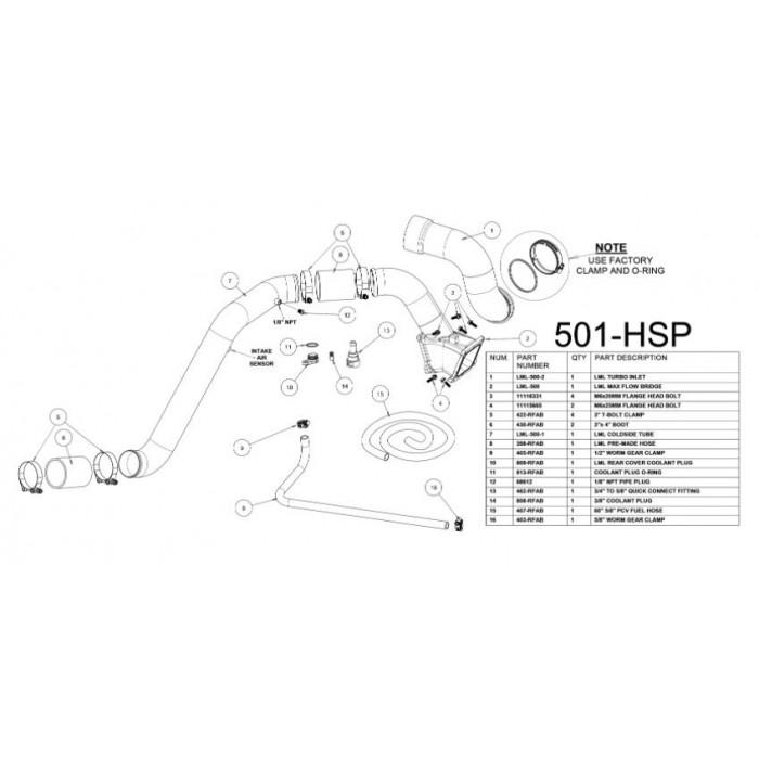 HSP Diesel LML Max Flow Bridge, Cold Side Tube, Turbo Inlet